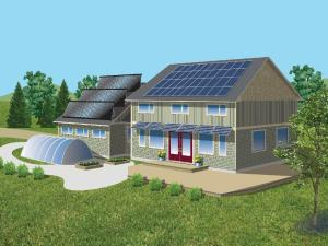 0620 home green  Rendering of the home Chris Weissflog, who operates the renewable energy firm Ecogen Energy, is building for his family. Among other green features, its solar panels will meet most of the 3,000-square-foot home's heating and cooling needs as well as powering a greenhouse with an extended growing season. With story by Patrick Langston.